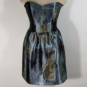 Eight Sixty Metallic Strapless Mini Dress Size XS
